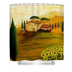 Sunflowers In Tuscany Shower Curtain by Christine Huwer