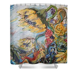 Sunflowers On A Windy Day Shower Curtain by Avonelle Kelsey