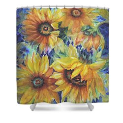 Sunflowers On Blue I Shower Curtain