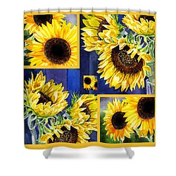 Shower Curtain featuring the painting Sunflowers Sunny Collage by Irina Sztukowski