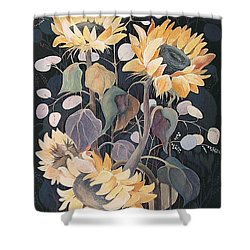 Shower Curtain featuring the painting Sunflowers' Symphony by Marina Gnetetsky