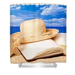 Sunhat In Sand Shower Curtain by Amanda Elwell