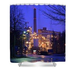 Sunila Pulp Mill By Rainy Night Shower Curtain