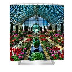 Sunken Garden Marjorie Mc Neely Conservatory Shower Curtain by Amanda Stadther