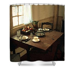 Sunlight On Dining Table Shower Curtain by RC deWinter