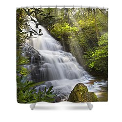 Sunlight On The Falls Shower Curtain by Debra and Dave Vanderlaan