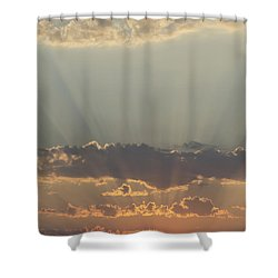 Sunlight Shining Through Clouds And Shower Curtain by Keith Levit