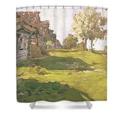 Sunlit Day  A Small Village Shower Curtain by Isaak Ilyich Levitan