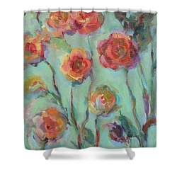 Shower Curtain featuring the painting Sunlit Garden by Mary Wolf
