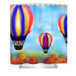 Sunny Balloon Ride Shower Curtain by Christine Fournier
