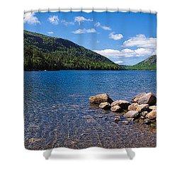 Sunny Day On Jordan Pond   Shower Curtain by Lars Lentz