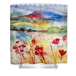Sunny Field Shower Curtain by Anna Ruzsan