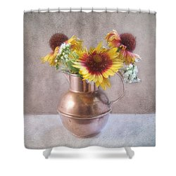 Sunny Treasure Flowers In A Copper Jug Shower Curtain by Louise Kumpf