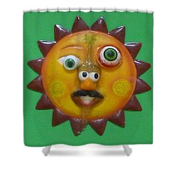 Shower Curtain featuring the sculpture Sunny Mr. Potato Head  by Douglas Fromm