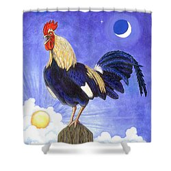 Sunny The Rooster Shower Curtain by Linda Mears