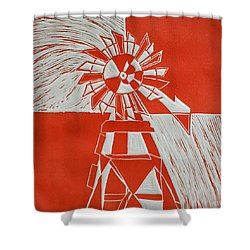 Sunny Windmill Shower Curtain by Verana Stark