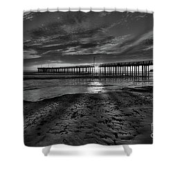 Sunrays Through The Pier In Black And White Shower Curtain