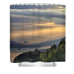 Sunrise At Columbia River Gorge Shower Curtain by David Gn