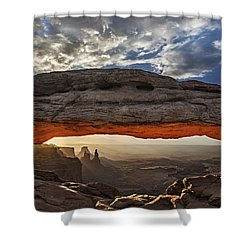 Shower Curtain featuring the photograph Sunrise At Mesa Arch by Roman Kurywczak