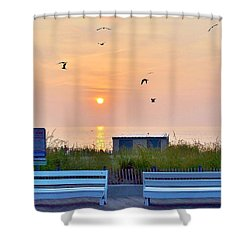 Sunrise At Rehoboth Beach Boardwalk Shower Curtain