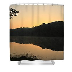 Sunrise At Rose Lake Shower Curtain by Julie Andel