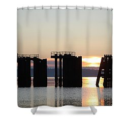 Southworth Ferry Pilling At Dawn Shower Curtain by E Faithe Lester