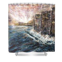 Sunrise At Tal-gurdan Cliffs Shower Curtain by Marco Macelli