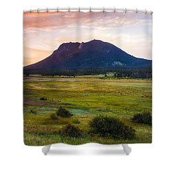Sunrise At The Horseshoe Park Of The Colorado Rockies Shower Curtain by Ellie Teramoto