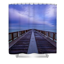 Sunrise At The Panama City Beach Pier Shower Curtain by David Morefield