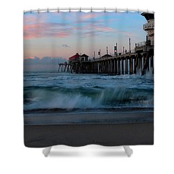 Sunrise At The Pier Shower Curtain by Duncan Selby