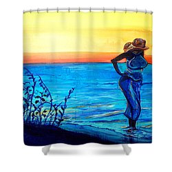 Sunrise Blues Shower Curtain by Ecinja Art Works