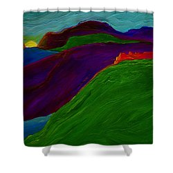 Shower Curtain featuring the painting Sunrise Castle By Jrr by First Star Art