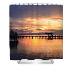Shower Curtain featuring the photograph Sunrise Colors On The Sound by Jeff at JSJ Photography