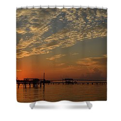 Sunrise Colors With Storms Building On Sound Shower Curtain