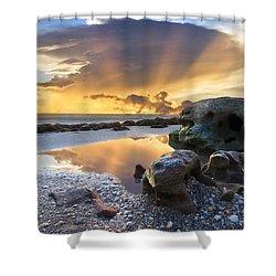 Sunrise Explosion Shower Curtain by Debra and Dave Vanderlaan