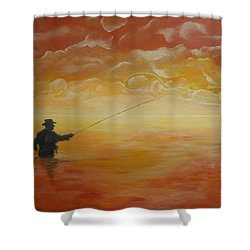 Sunrise Fishing Shower Curtain by Donna Blackhall