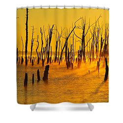 Sunrise Fog Shadows Shower Curtain