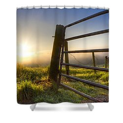 Sunrise  Gate Shower Curtain by Debra and Dave Vanderlaan