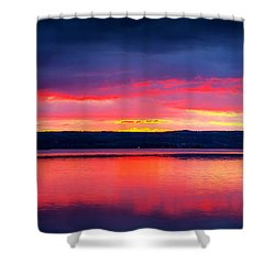 Sunrise In Cayuga Lake Ithaca New York Panoramic Photography Shower Curtain by Paul Ge