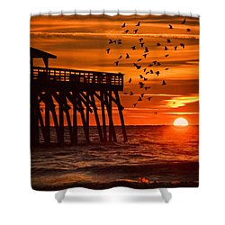 Sunrise In Myrtle Beach With Birds Flying Around The Pier Shower Curtain by Vizual Studio