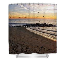 Shower Curtain featuring the photograph Sunrise In Ocean Grove by Debra Fedchin