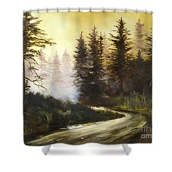 Sunrise In The Forest Shower Curtain by Lee Piper