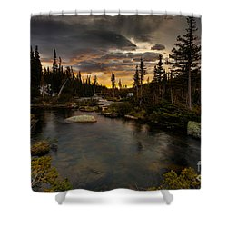 Sunrise In The Indian Peaks Shower Curtain by Steven Reed