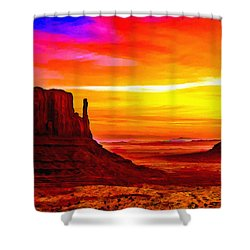 Sunrise Monument Valley Mittens Shower Curtain by Bob and Nadine Johnston