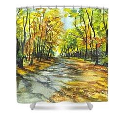 Sunrise On A Shady Autumn Lane Shower Curtain by Carol Wisniewski
