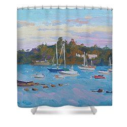 Sunrise On Inner Harbor Shower Curtain by Dianne Panarelli Miller