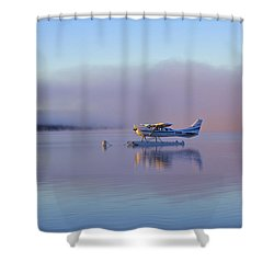 Sunrise On Lake Te Anu Shower Curtain by Venetia Featherstone-Witty