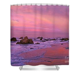 Shower Curtain featuring the photograph Sunrise On Sea Stacks Harris Sb Oregon by Dave Welling