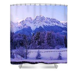 Sunrise On Snowy Mountain Shower Curtain