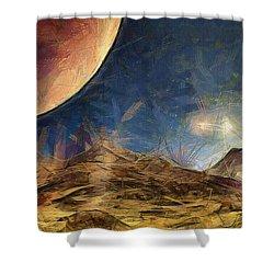 Sunrise On Space Shower Curtain by Ayse Deniz